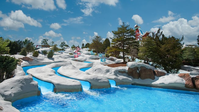 Three Waterslides Winding Down The Hillside Like A Slalom Course At Snow Stormers View Gallery Disney S Blizzard Beach Water Park