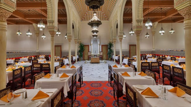 Dining room at Moroccan-themed Restaurant Marrakesh at Epcot