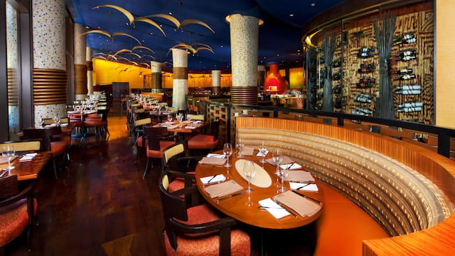 Front portion of dining room at Jiko – The Cooking Place at Disney's Animal Kingdom Lodge