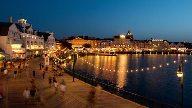 Disney's BoardWalk and Crescent Lake, lit up at night