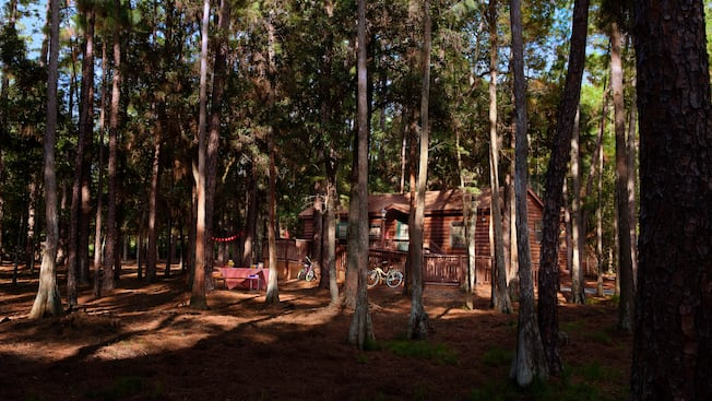 Cabin among the woods at Disney's Fort Wilderness Resort