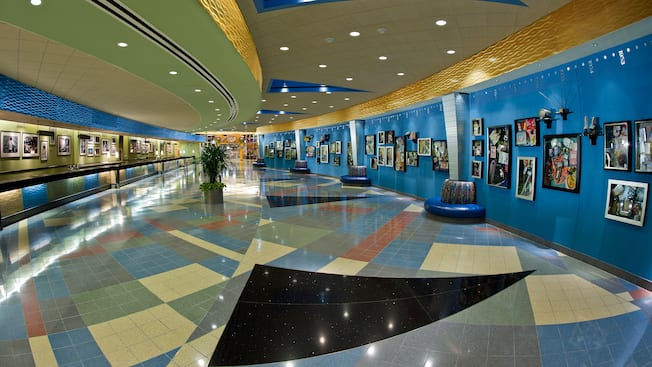 Classic Hall and timeline wall displays at Disney's Pop Century Resort