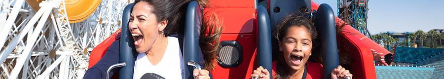 A woman and young girl screaming with excitement while riding the Incredicoaster