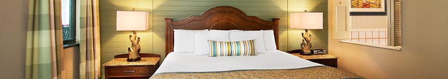 Bedroom of a 2-bedroom villa with a queen bed
