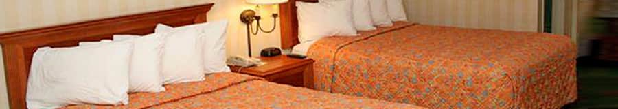 Two queen beds with wooden headboards separated by a nightstand and a wall mounted lamp