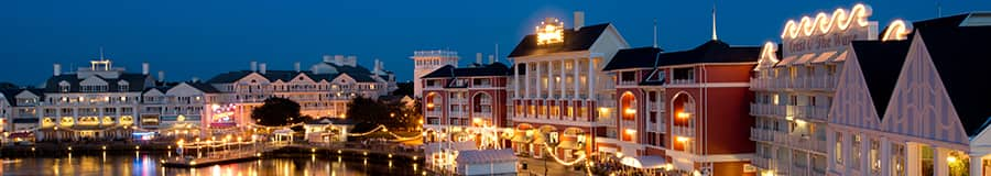 Disney's BoardWalk illuminated at night