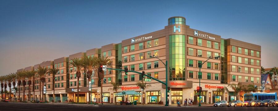 Palm trees line the sidewalks outside the Hyatt House hotel in Anaheim, California