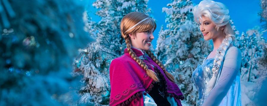 Anna y Elsa van de la mano entre los árboles helados de Arendelle