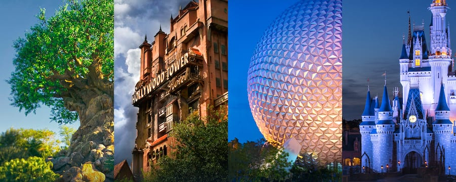 The Tree of Life, The Twilight Zone Tower of Terror, Spaceship Earth y Cinderella Castle