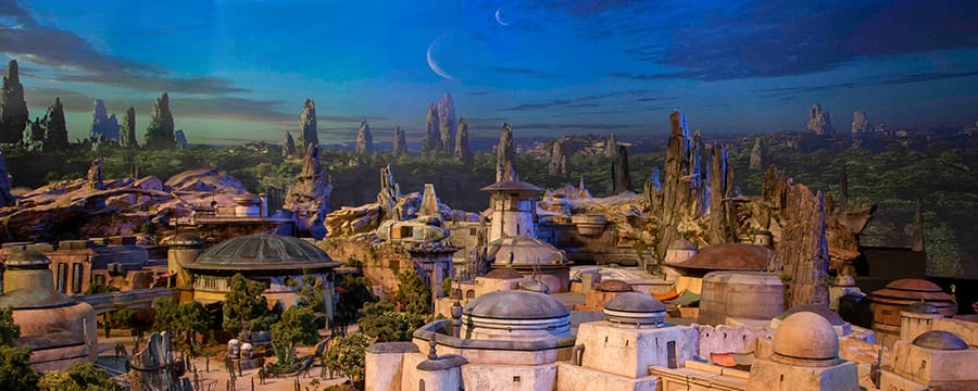 A conceptual model showcasing the outpost buildings and rocky structures of Star Wars: Galaxy's Edge