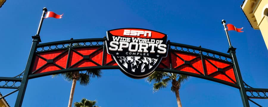 Placa de boas-vindas ao ESPN Wide World of Sports Complex