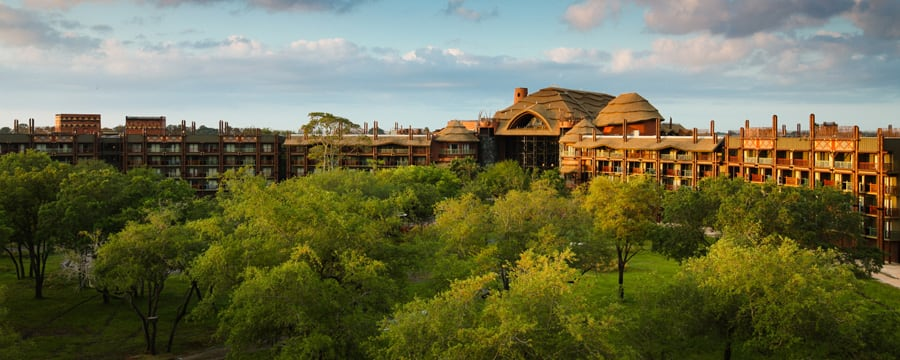 As copas das árvores e telhados de palha do Disney's Animal Kingdom Lodge ao amanhecer