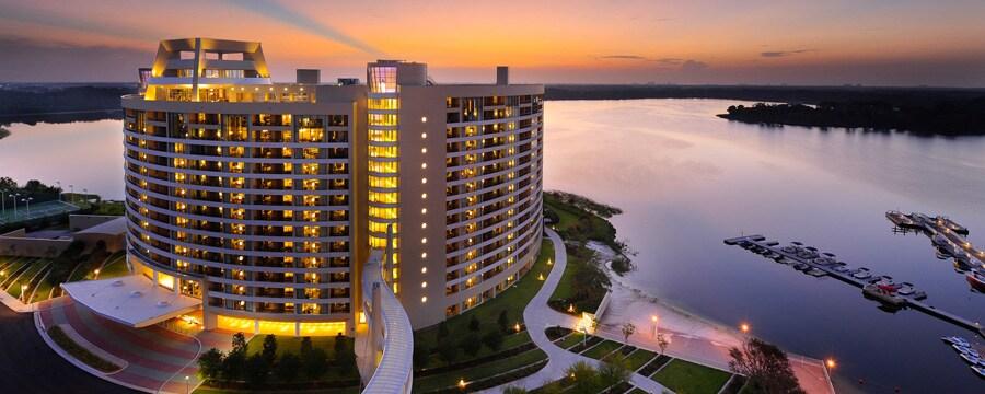 Bay Lake Tower at Disney's Contemporary Resort and Bay Lake at sunset