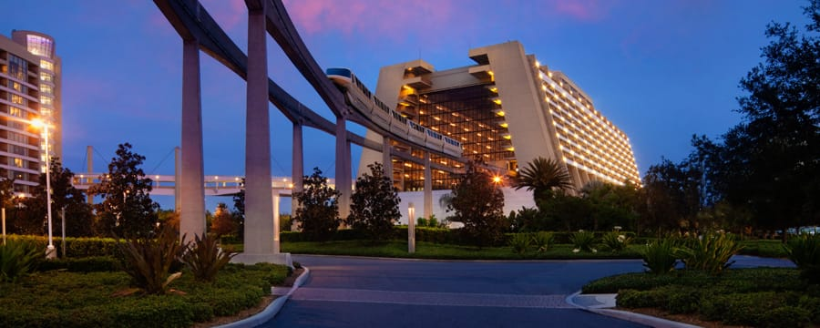 The Monorail Entering Main Concourse Of Disney S Contemporary Resort At Sunset