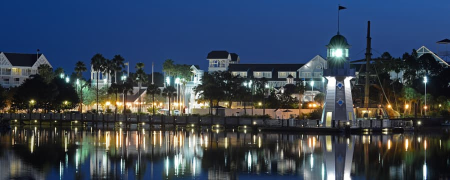 Panoramic View Of Crescent Lake At Disney S Yacht Club Resort Lit Up Night
