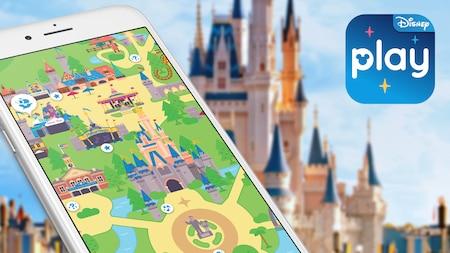 Una pantalla de iPhone muestra un tablero de juego animado del Parque Temático Magic Kingdom en la aplicación Play Disney Parks