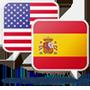 Ícone da bandeira americana e bandeira espanhola