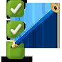 Icono de verificación de marcador con lápiz