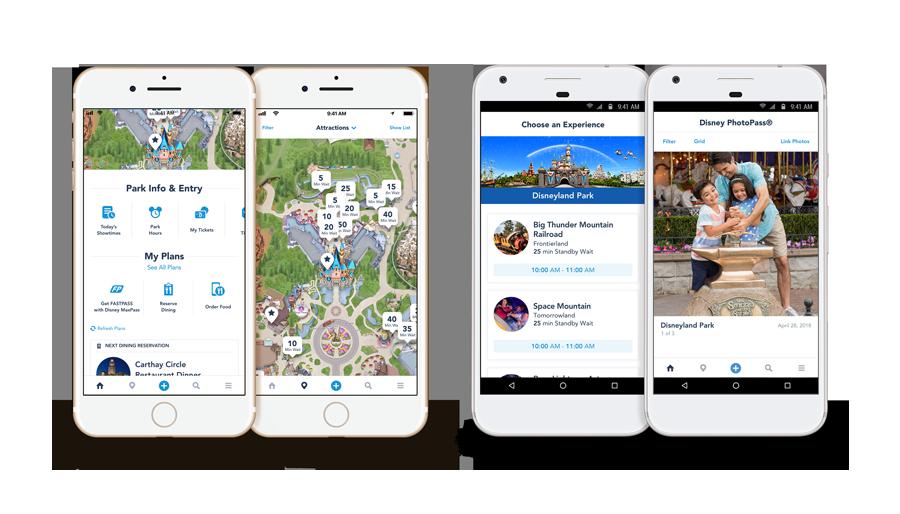 Información sobre los Parques, Atracciones, Vivir una Experiencia y pantallas de PhotoPass de la aplicación móvil de Disneyland Resort